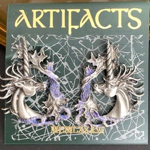 """JJ"" Jonette signed ARTIFACTS Unicorn Earrings"